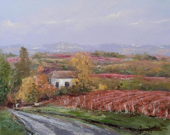 dans le vignoble de St-Emilion(46x38)