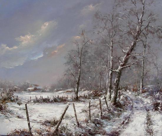 en hiver,allée d'Imbourdeix (65x54)