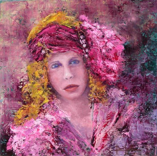 le turban rose (30x30)