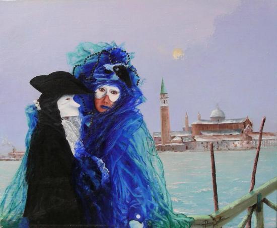 Les amoureux de Venise (46x38)