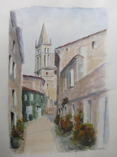 Matin à Saint-Emilion (aquarelle)